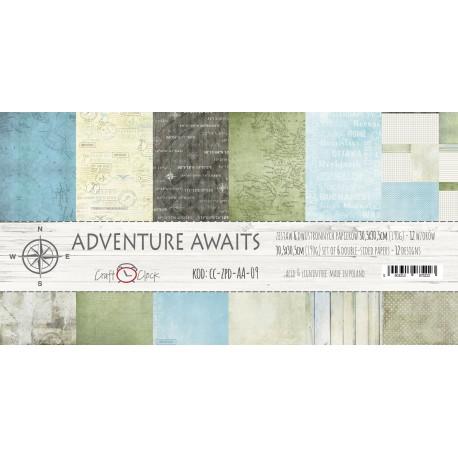 ADVENTURE AWAITS - zestaw papierów 30,5 x 30,5 cm