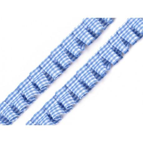 Tasiemka niebieska falbanka w kratę 17mm