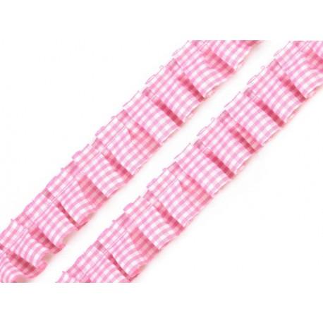 Tasiemka różowa falbanka w kratę 17mm