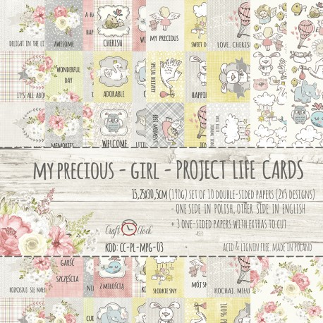 MÓJ SKARB - DZIEWCZYNKA - zestaw kart do Project Life