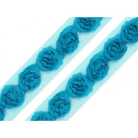 Tiulowa taśma z różyczkami tutkusowa