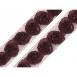 Tiulowa taśma z różyczkami czekoladowa