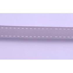 Tasiemka rypsowa szara z nadrukiem 15mm 1mb