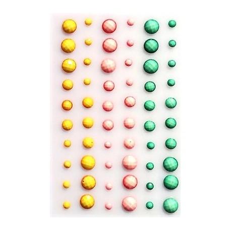 Kryształki samoprzylepne, 60sztuk Żółty-Róż-Turkus